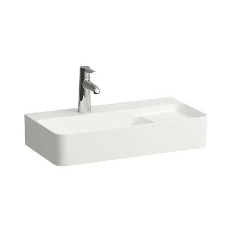 Laufen VAL Wash basin COMPACT, without tap hole, with overflow, 600x315, white, semi-dryer area on the right, colour: white matt - H8152857571091