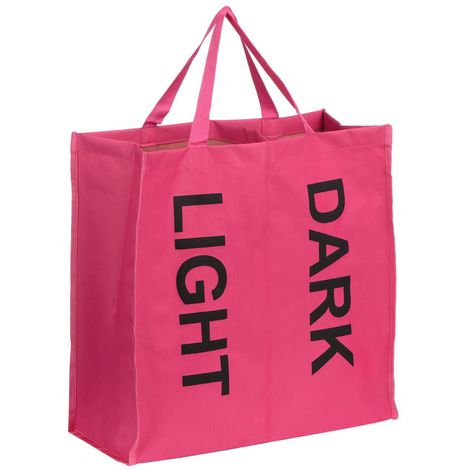 Laundry Bag,Hot Pink Polyester/Black Writing,2 Section