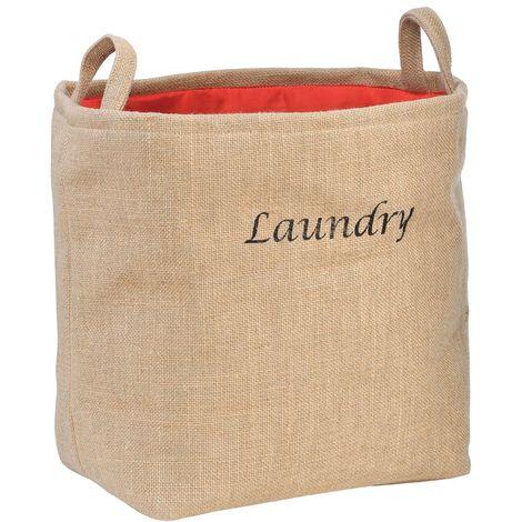 Laundry Bag,Jute Hessian/Polyester,Natural