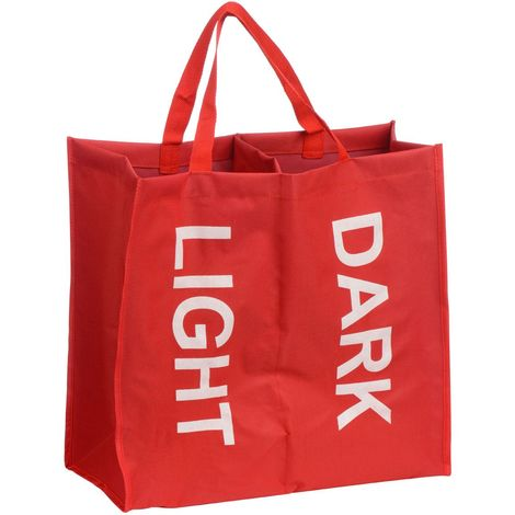 Laundry Bag,Red Polyester/White Writing,2 Section