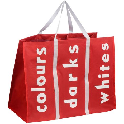 Laundry Bag,Red Polyester/White Writing,3 Section