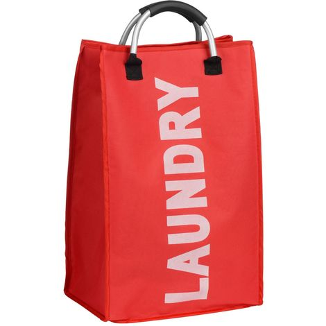 Laundry Bag,Red/White Writing,Polyester/Aluminium Handle