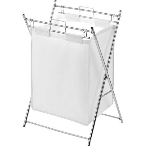 Laundry Bag,White Polyester/Chrome Frame