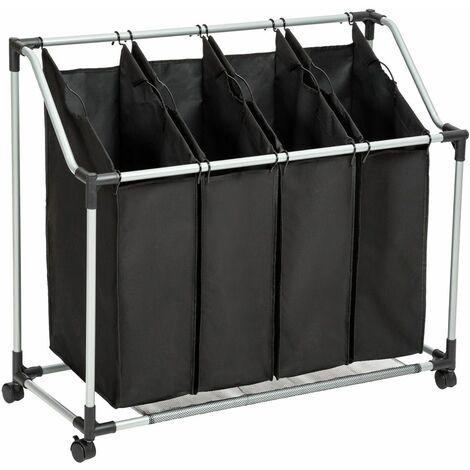 Laundry basket with 4 compartments - hamper basket, hamper, washing basket - black - schwarz