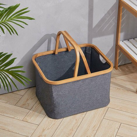 Laundry Basket with Bamboo Wood Handle Bucket Storage Box Carrier Organizer