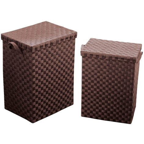 Laundry baskets,set of 2,brown paper woven