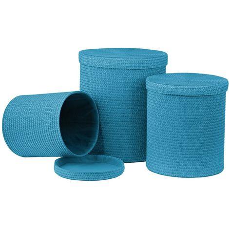 Laundry Baskets,Set of 3,Turquoise PP
