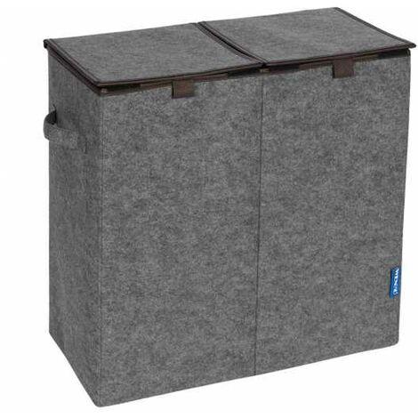 Laundry bin Felt Duo grey/brown WENKO
