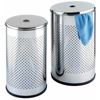 Laundry Bin Round Chrome set of 2 WENKO