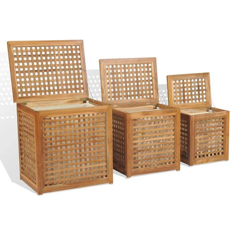 """main image of """"Laundry Box Set 3 Pieces Teak10705-Serial number"""""""
