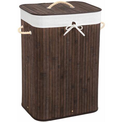 Laundry basket with laundry bag - hamper basket, hamper, washing basket - brown, 72 L