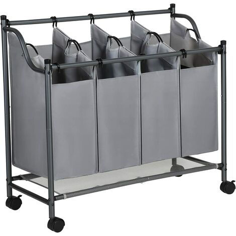 Rolling Laundry Sorter, Laundry Basket with 4 Removable Bags, Laundry Trolley, Toy Organiser on Wheels, Sturdy, 4 x 35L, Grey LSF005GS