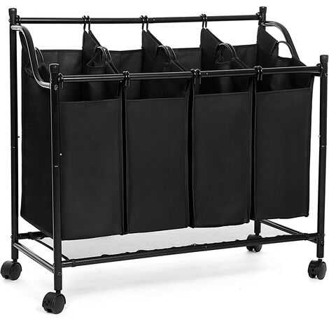 Laundry Sorter Cart Trolley with Sturdy Metal Frame on wheels Capacity 104L Black LSF005