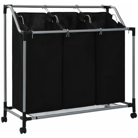 Laundry Sorter with 3 Bags Black Steel - Black