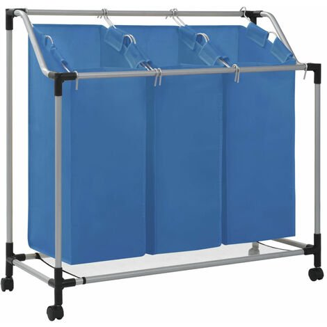 Laundry Sorter with 3 Bags Blue Steel