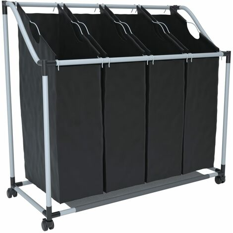Laundry sorter with 4 bags black grey - Black
