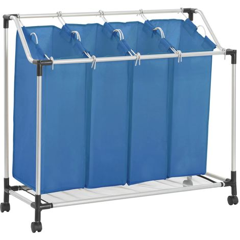 Laundry Sorter with 4 Bags Blue Steel