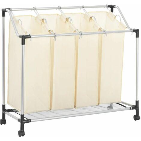 Laundry Sorter with 4 Bags Cream Steel