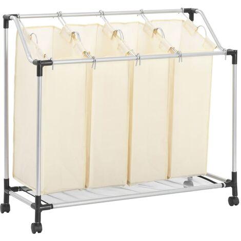 Laundry Sorter with 4 Bags Cream Steel - Cream