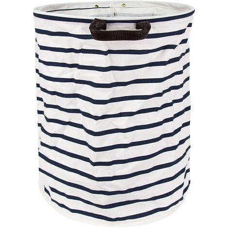 """main image of """"Laundry Storage Basket Freestanding Laundry Hamper Collapsible Large Clothes Basket with Handles for Storing Clothing Diapers Toys 15 x 19 Inches,model:Blue White"""""""