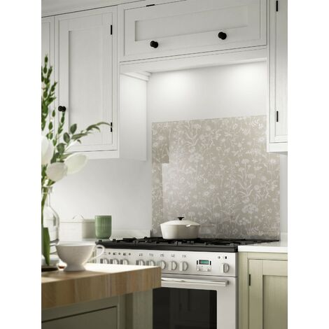 Laura Ashley Lisette Flint Glass Kitchen Splashbacks - different dimensions available