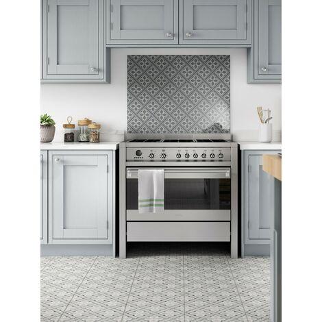 Laura Ashley Mr Jones Charcoal Glass Kitchen Splashback 600mm X