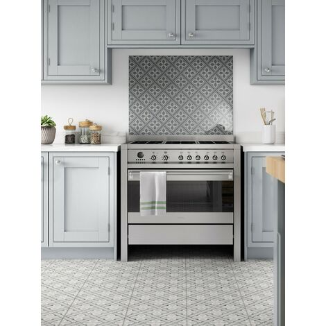Laura Ashley Mr Jones Charcoal Glass Kitchen Splashback 600mm x 750mm