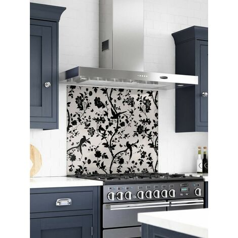 Laura Ashley Oriental Garden Charcoal Glass Kitchen Splashbacks - different dimensions available