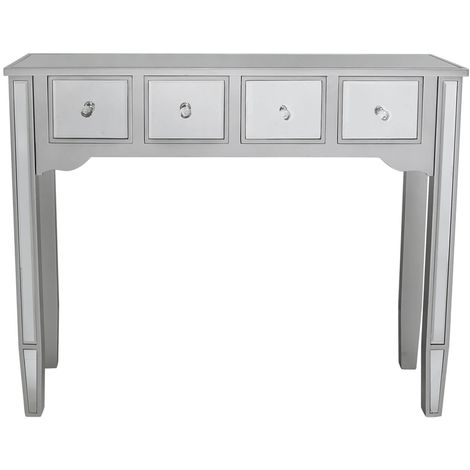 Laurel Silver Wood And Mirrored Console Table