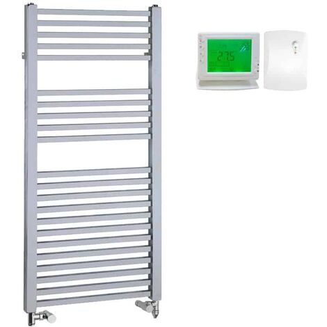LAUREL Square Tube Heated Towel Rail, Chrome - Dual Fuel + Wireless Timer, Thermostat
