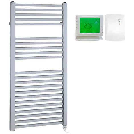 LAUREL Square Tube Heated Towel Rail, Chrome - Electric + Wireless Timer, Thermostat