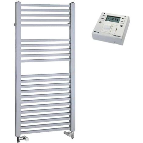 LAUREL Square Tube Heated Towel Rail / Warmer, Chrome - Dual Fuel + Fused Spur Timer