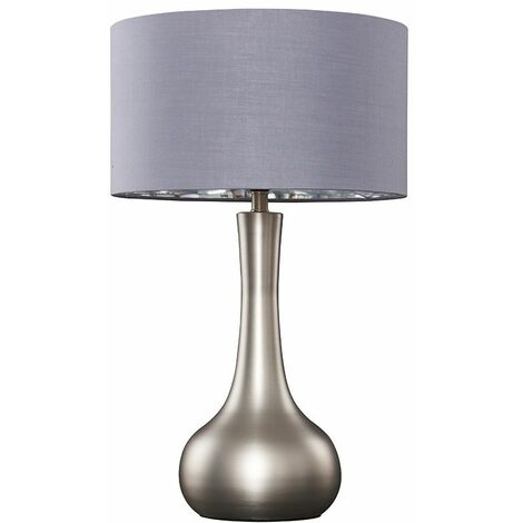 Laurin Large Table Lamp In Brushed Chrome + LED Bulb