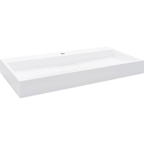 Lavabo 100x46x11 cm Fonte minérale/marbre Blanc