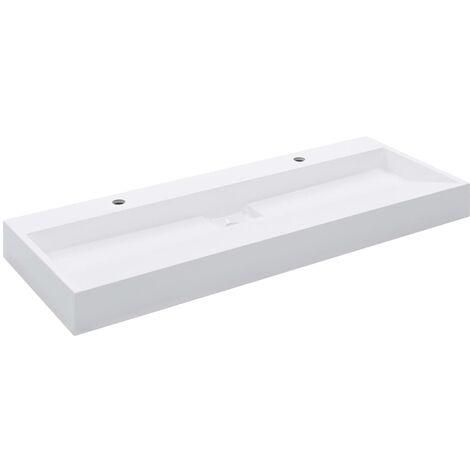 Lavabo 120x46x11 cm Fonte minerale/marbre Blanc