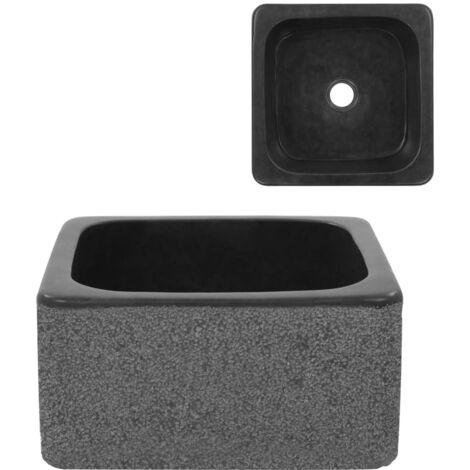 Lavabo 30x30x15 cm de piedra de río color negro