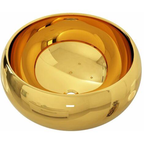 Lavabo 40x15 cm cerámica dorado