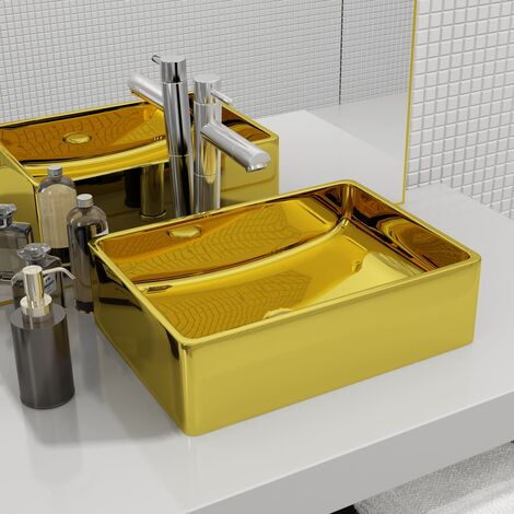 Lavabo 41x30x12 cm cerámica dorado