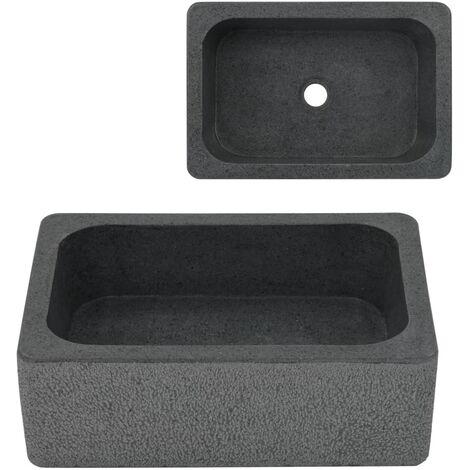 Lavabo 45x30x15 cm de piedra de río negro - Negro