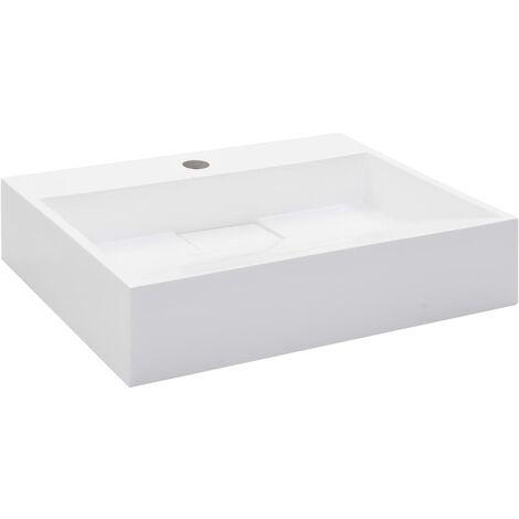 Lavabo 50x38x13 cm resina mineral/mármol blanco
