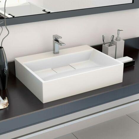 "main image of ""Lavabo 50x38x13 cm resina mineral/mármol blanco - Blanco"""