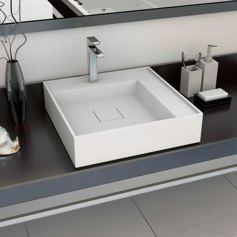 "main image of ""Lavabo 50x50x12,3 cm resina mineral/mármol blanco"""