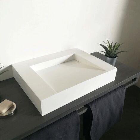 Lavabo 60 cm de Mesa en Solid Surface sin perforacion – Soko II