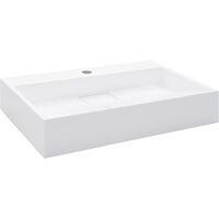 Lavabo 60x38x11 cm Fonte minérale/marbre Blanc