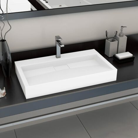 Lavabo 80x46x11 cm Fonte minérale/marbre Blanc