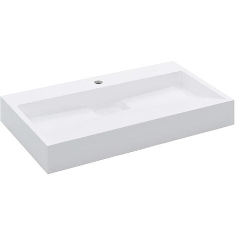 Lavabo 80x46x11 cm Fonte minerale/marbre Blanc