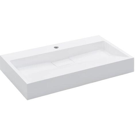 Lavabo 80x46x11 cm resina mineral/mármol blanco