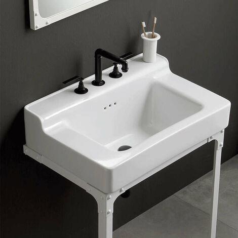 Lavabo à bords larges style industriel en céramique 60 cm - Industrialis