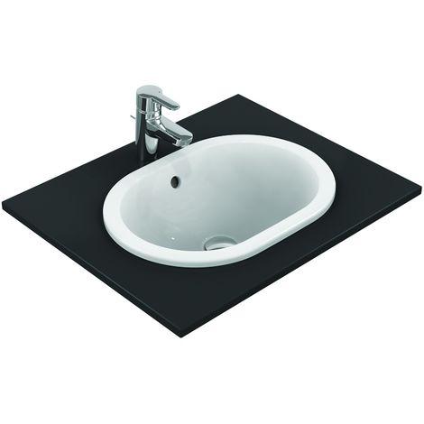 Lavabo à encastrer sans trou, ovale 620 x 175 x 410 mm, blanc (E504901)