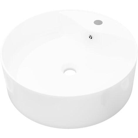 Lavabo à trou de trop-plein/robinet céramique Blanc Rond